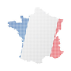 Map of France with flag. Pointillism style. Vector illustration design