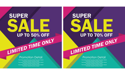 Full Color Super Sale Banner, discount up to 50% Off. Poster Sale - Vector