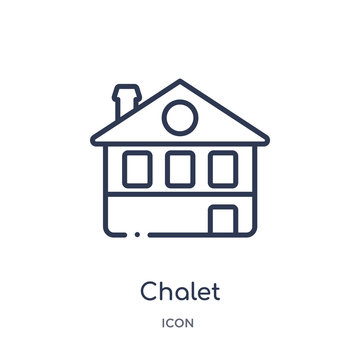 chalet icon from winter outline collection. Thin line chalet icon isolated on white background.