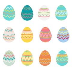 Set of easter eggs flat design on white background