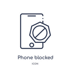 phone blocked icon from ultimate glyphicons outline collection. Thin line phone blocked icon isolated on white background.
