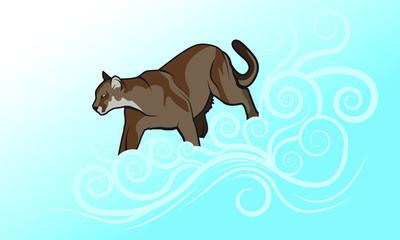 Cougar - Mountain Lion Vector Illustration