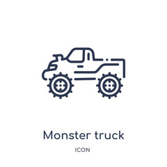 monster truck icon from transportation outline collection. Thin line monster truck icon isolated on white background.