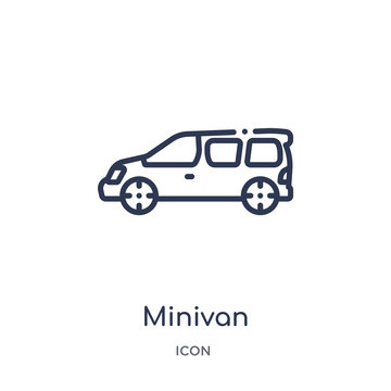 minivan icon from transportation outline collection. Thin line minivan icon isolated on white background.