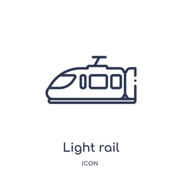 light rail icon from transportation outline collection. Thin line light rail icon isolated on white background.