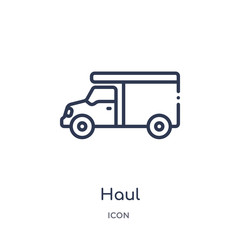 haul icon from transportation outline collection. Thin line haul icon isolated on white background.