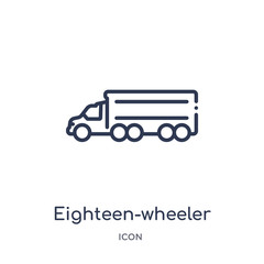 eighteen-wheeler icon from transportation outline collection. Thin line eighteen-wheeler icon isolated on white background.