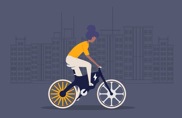 Cartoon picture with girl, woman riding fast modern electric bicycle. Enjoying futuristic bike ride. Flat style vector illustration. Background with Big City.