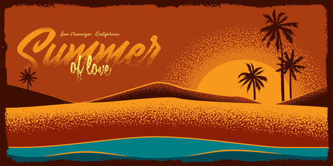 Original vector background beach, sunset and sea