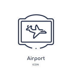airport icon from traffic signs outline collection. Thin line airport icon isolated on white background.