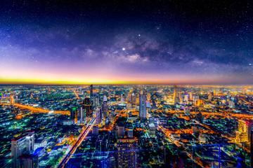 Aerial view of Bangkok skyline, Thailand.