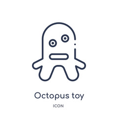 octopus toy icon from toys outline collection. Thin line octopus toy icon isolated on white background.