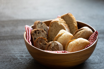 bread on black wooden table
