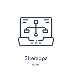 sitemaps icon from technology outline collection. Thin line sitemaps icon isolated on white background.