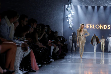 A model presents a creation from The Blonds Autumn/Winter 2019 collection during New York Fashion Week in New York