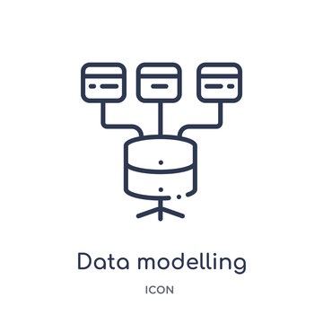 data modelling icon from technology outline collection. Thin line data modelling icon isolated on white background.