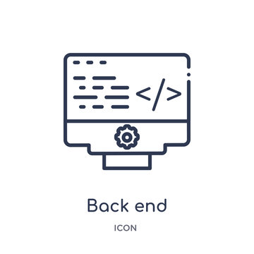 back end icon from technology outline collection. Thin line back end icon isolated on white background.