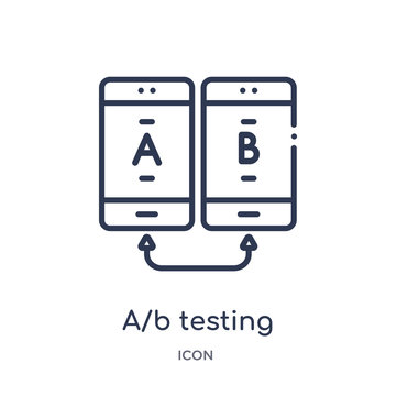 a/b testing icon from technology outline collection. Thin line a/b testing icon isolated on white background.