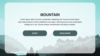 Mountain Design Landing Page Vector Color Template