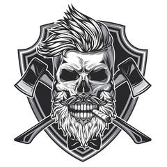 Monochrome vector illustration of a lumberjack skull with axes on a background, in vintage style. T-shirt or sticker design