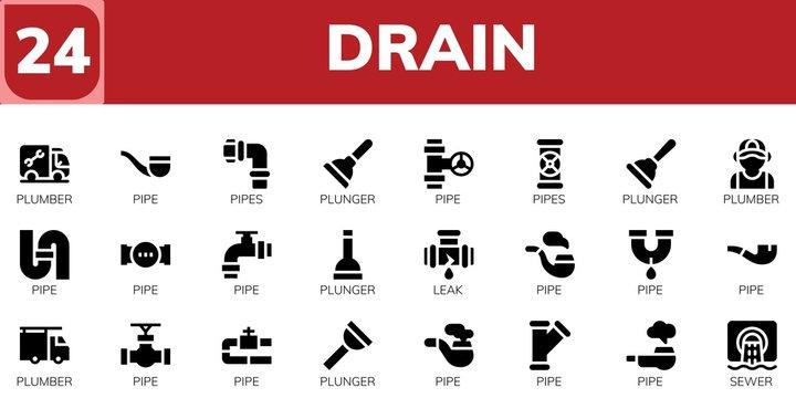 drain icon set