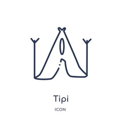 tipi icon from stone age outline collection. Thin line tipi icon isolated on white background.