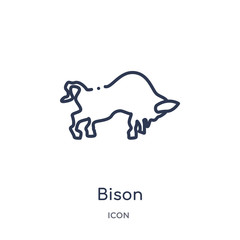bison icon from united states outline collection. Thin line bison icon isolated on white background.
