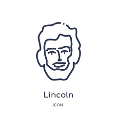 lincoln icon from united states outline collection. Thin line lincoln icon isolated on white background.