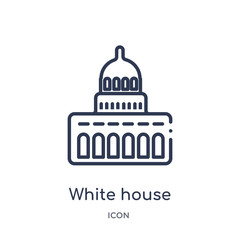 white house icon from united states outline collection. Thin line white house icon isolated on white background.