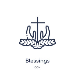 blessings icon from united states of america outline collection. Thin line blessings icon isolated on white background.