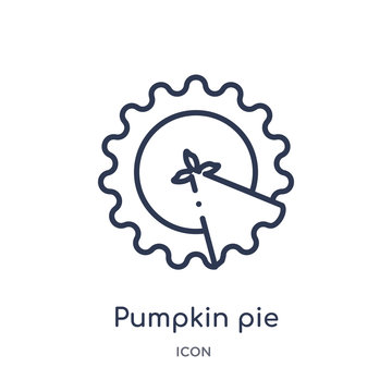 pumpkin pie icon from united states of america outline collection. Thin line pumpkin pie icon isolated on white background.