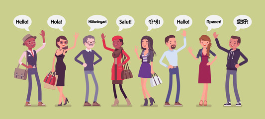 Hello greeting in languages and group of diverse people. Friendly men and women from different countries saying hi, giving a polite word of recognition and hand sign of welcome. Vector illustration