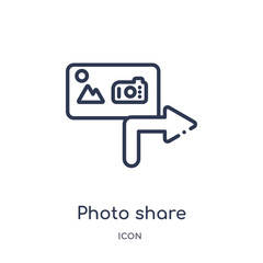 photo share icon from social media marketing outline collection. Thin line photo share icon isolated on white background.
