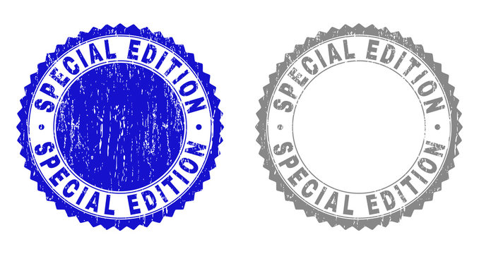 Grunge SPECIAL EDITION stamp seals isolated on a white background. Rosette seals with grunge texture in blue and grey colors. Vector rubber stamp imprint of SPECIAL EDITION title inside round rosette.