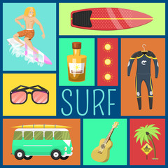 Summer icons seamless pattern. Vacation on seaside. Palms, flippers, surfing man, diving suit, sunglasses, sun cream, danger sign, guitar, bus. Summer equipment and tools.