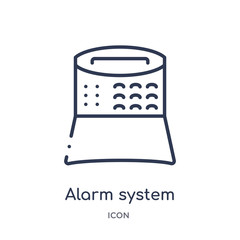 alarm system icon from smart home outline collection. Thin line alarm system icon isolated on white background.
