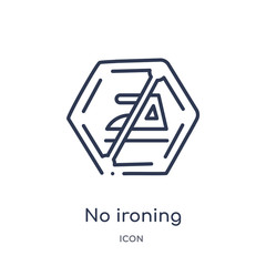 no ironing icon from signs outline collection. Thin line no ironing icon isolated on white background.