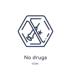 no drugs icon from signs outline collection. Thin line no drugs icon isolated on white background.