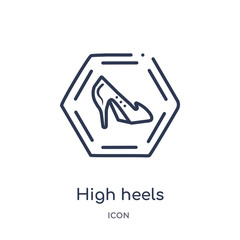 high heels icon from signs outline collection. Thin line high heels icon isolated on white background.