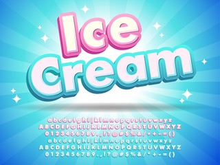 Ice cream font text design, for logo title headline, menu poster banner flyer, clean blue background with little stars compatible with illustrator 10