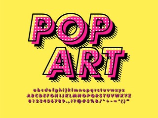 Modern retro old Pop Art Font Effect with rich texture pattern and shadow compatible with illustrator 10