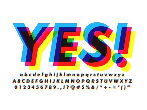 offset alphabet font with Overprint Colors text effect and Cool typeface Print Effects compatible with illustrator 10