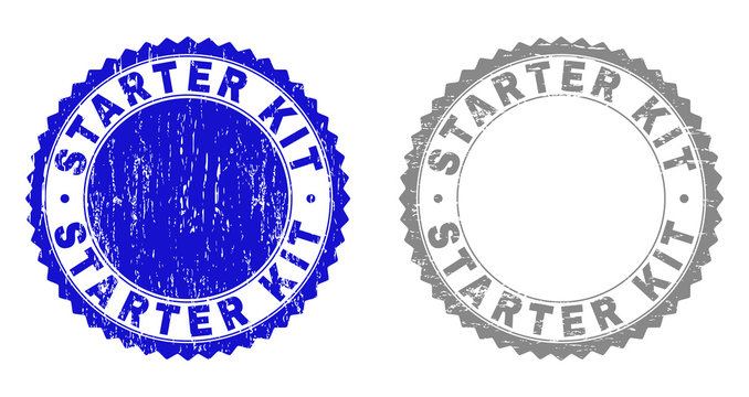 Grunge STARTER KIT stamp seals isolated on a white background. Rosette seals with distress texture in blue and gray colors. Vector rubber overlay of STARTER KIT label inside round rosette.