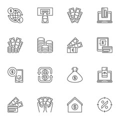 Vector collection of financial outline icons. Money concept symbols in thin line style