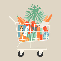 Vector illustration of full shopping trolley cart with grocery products