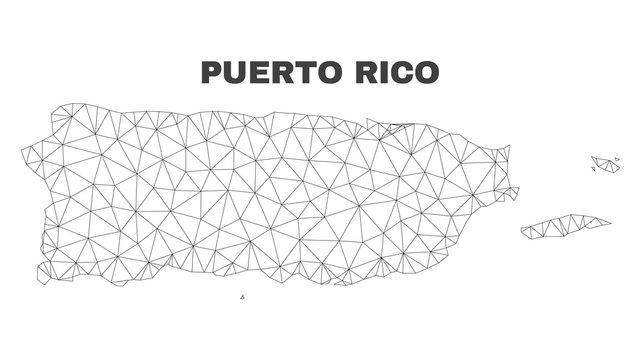 Abstract Puerto Rico map isolated on a white background. Triangular mesh model in black color of Puerto Rico map. Polygonal geographic scheme designed for political illustrations.