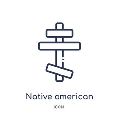 native american sun icon from religion outline collection. Thin line native american sun icon isolated on white background.