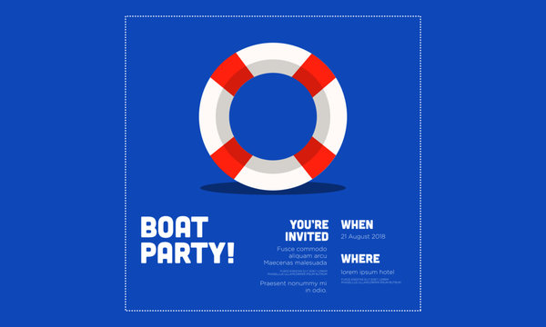 Boat Party Invitation Design with Where and When Details