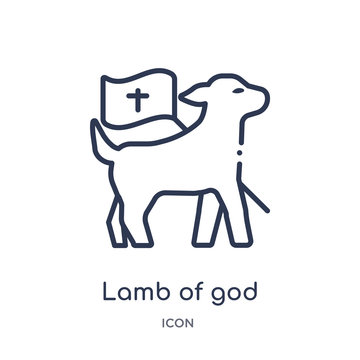 lamb of god icon from religion outline collection. Thin line lamb of god icon isolated on white background.