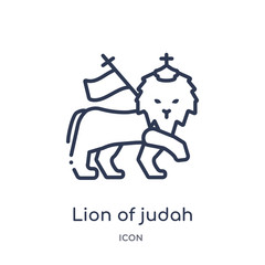 lion of judah icon from religion outline collection. Thin line lion of judah icon isolated on white background.